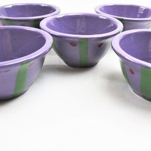 Set of 5 Handmade and Hand Painted Bowls